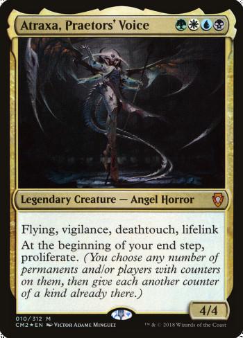 The original card image for Atraxa, Praetors' Voice